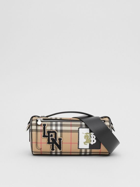 The Vintage Check E-canvas and Leather Barrel Bag in Archive Beige