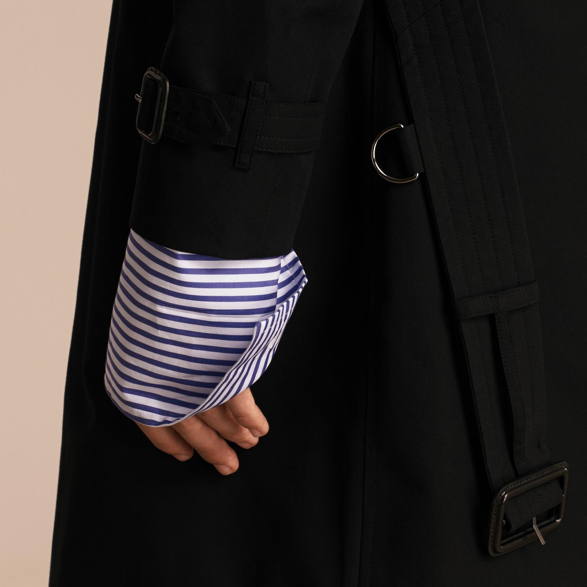 Black Contrast-collar Cotton Gabardine Trench Coat - gallery image 6