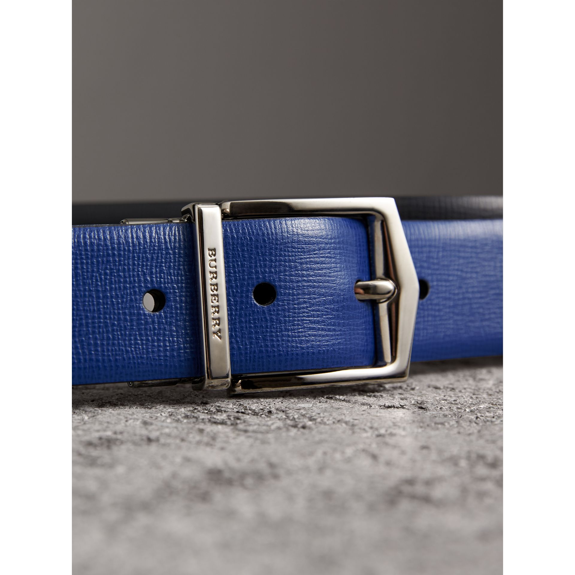 Reversible London Leather Belt in Deep Blue/black - Men | Burberry - gallery image 1