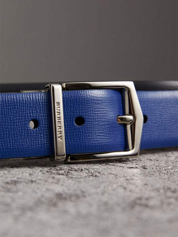 Reversible London Leather Belt in Deep Blue/black - Men | Burberry - cell image 1
