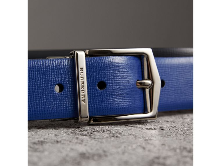 Reversible London Leather Belt in Deep Blue/black - Men | Burberry Australia - cell image 1