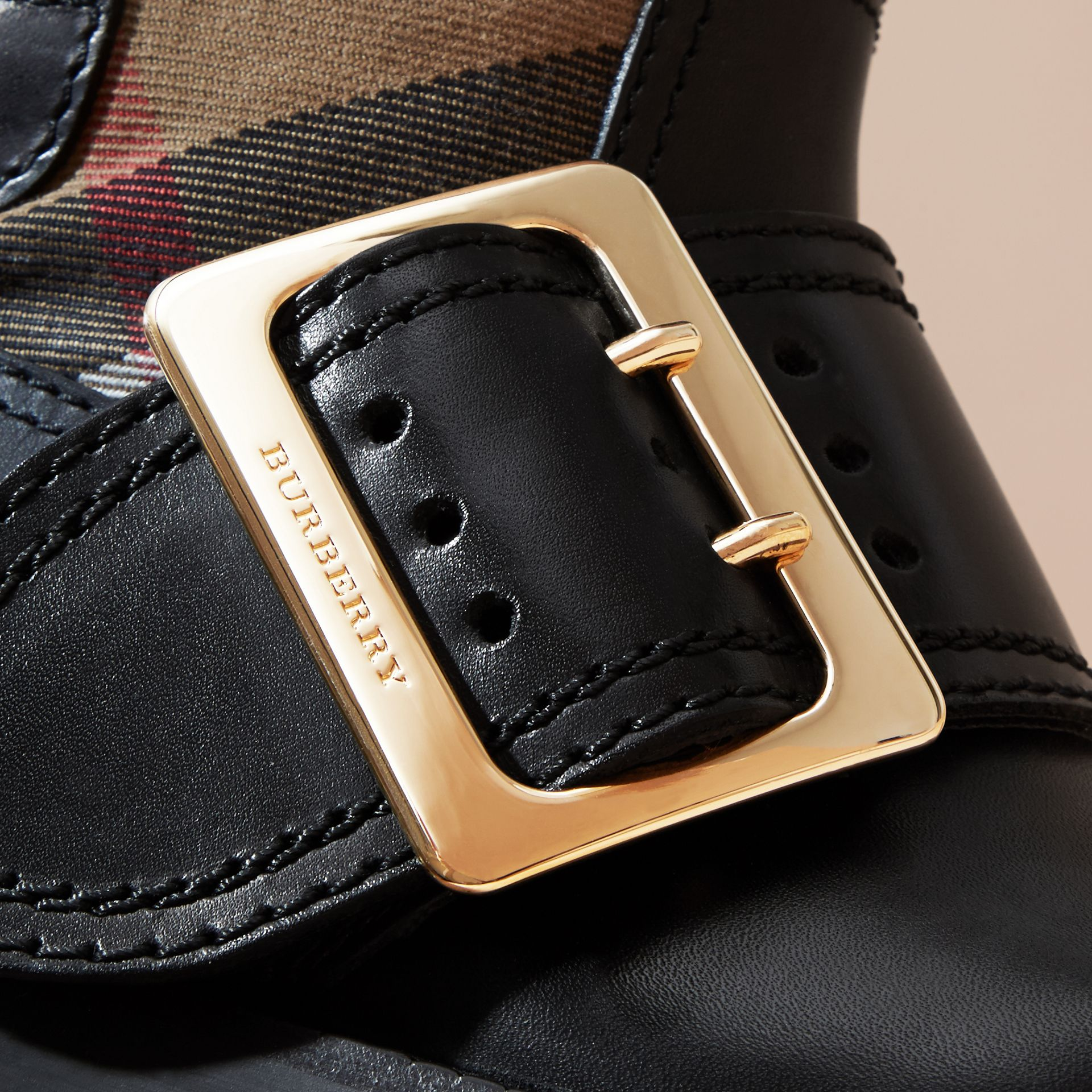 House Check Buckle Detail Leather Boots - gallery image 2