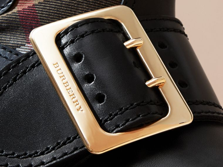 House Check Buckle Detail Leather Boots in Classic - Women | Burberry - cell image 1