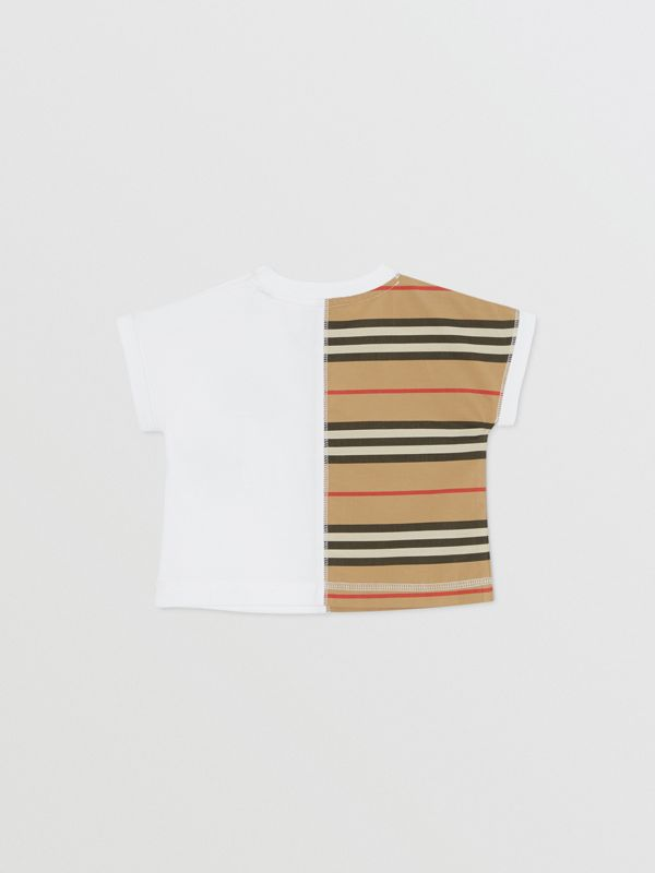 Icon Stripe Panel Cotton T-shirt in White - Children | Burberry United Kingdom - cell image 3