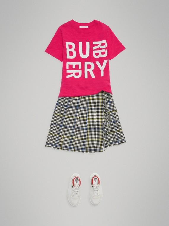 Camiseta en algodón con estampado de logotipo (Rosa Frambuesa)