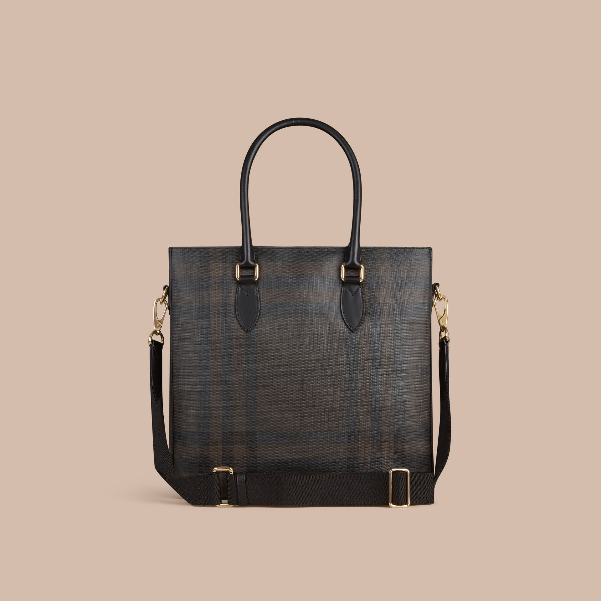 London Check Tote Bag in Black/chocolate - Men | Burberry Canada - gallery image 3