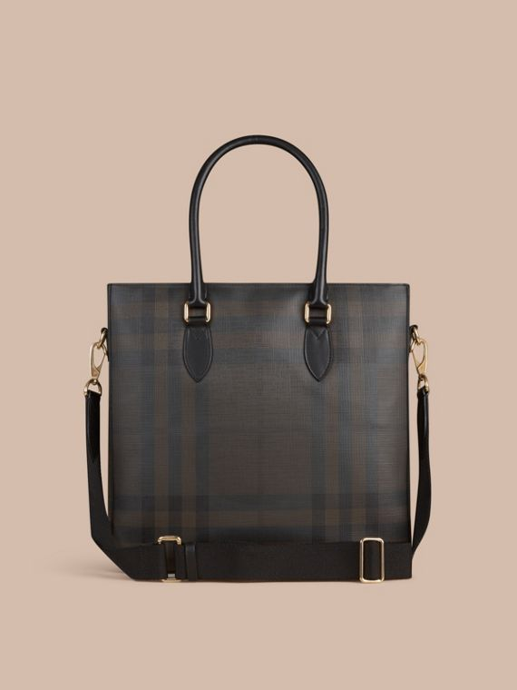 London Check Tote Bag in Black/chocolate - Men | Burberry United Kingdom - cell image 3