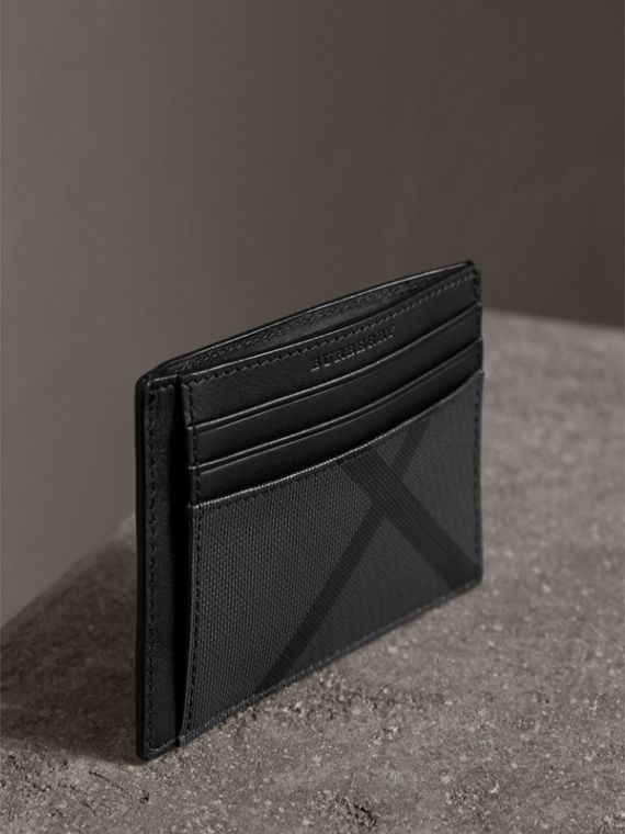 London Check Money Clip Card Case in Charcoal/black - Men | Burberry - cell image 3