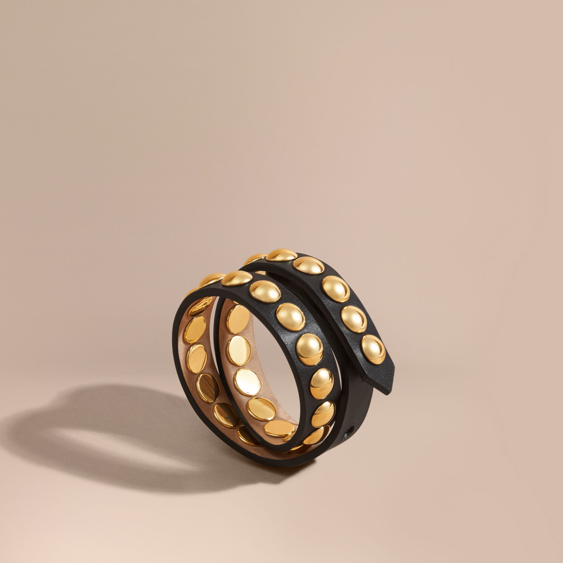 Black Double-wrap Riveted Bridle Leather Bracelet Black - gallery image 1