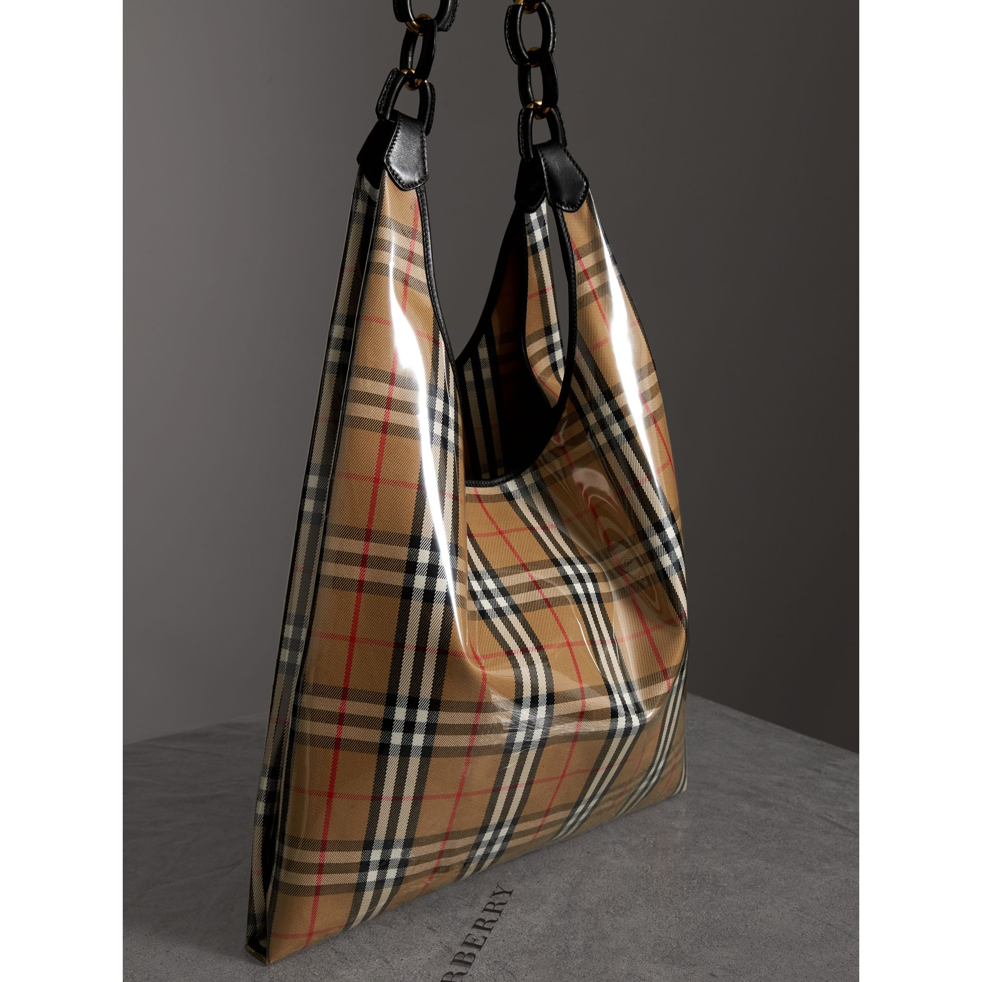 Medium Plastic Vintage Check and Leather Shopper in Antique Yellow/black - Women | Burberry Australia - gallery image 4