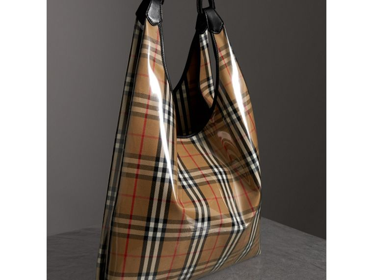 Medium Plastic Vintage Check and Leather Shopper in Antique Yellow/black - Women | Burberry Australia - cell image 4