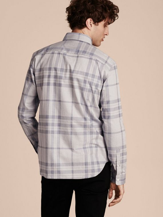 Dusty blue Check Cotton Flannel Shirt Dusty Blue - cell image 2