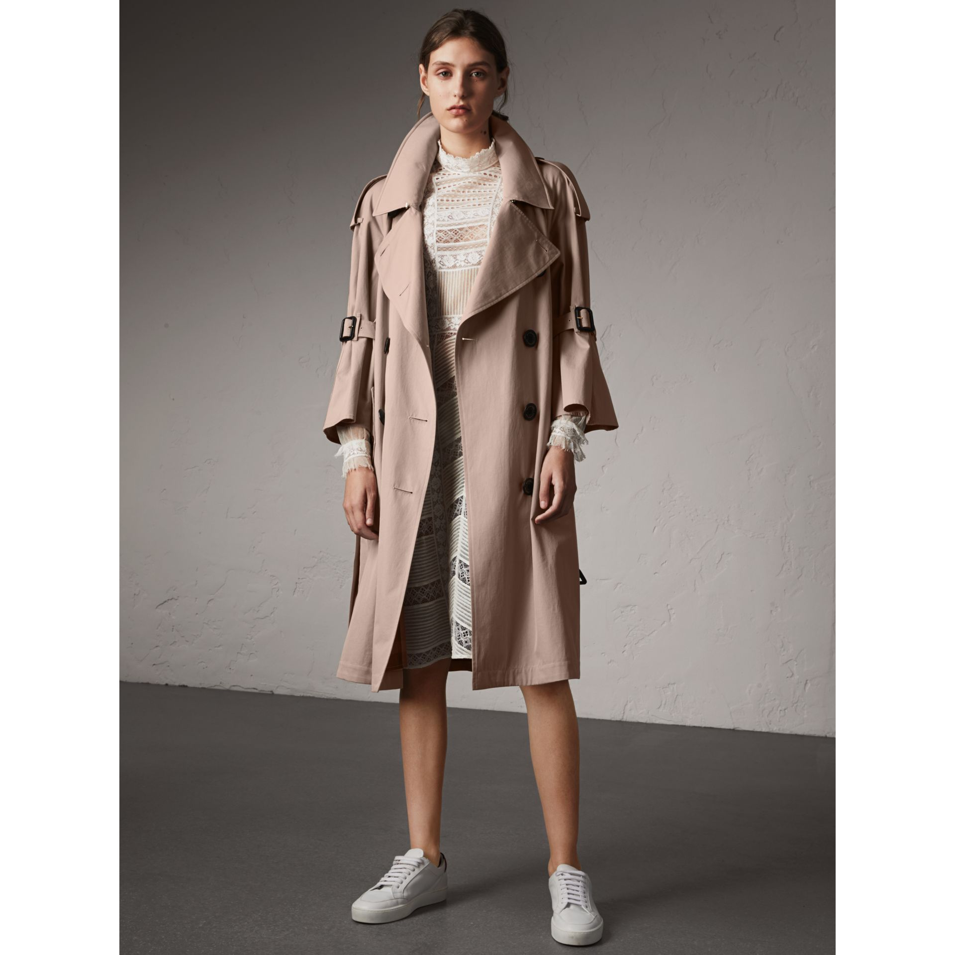 Flared Sleeve Tropical Gabardine Trench Coat - gallery image 1