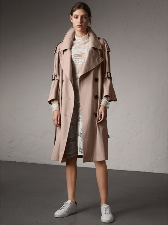 Flared Sleeve Tropical Gabardine Trench Coat in Antique Taupe Pink