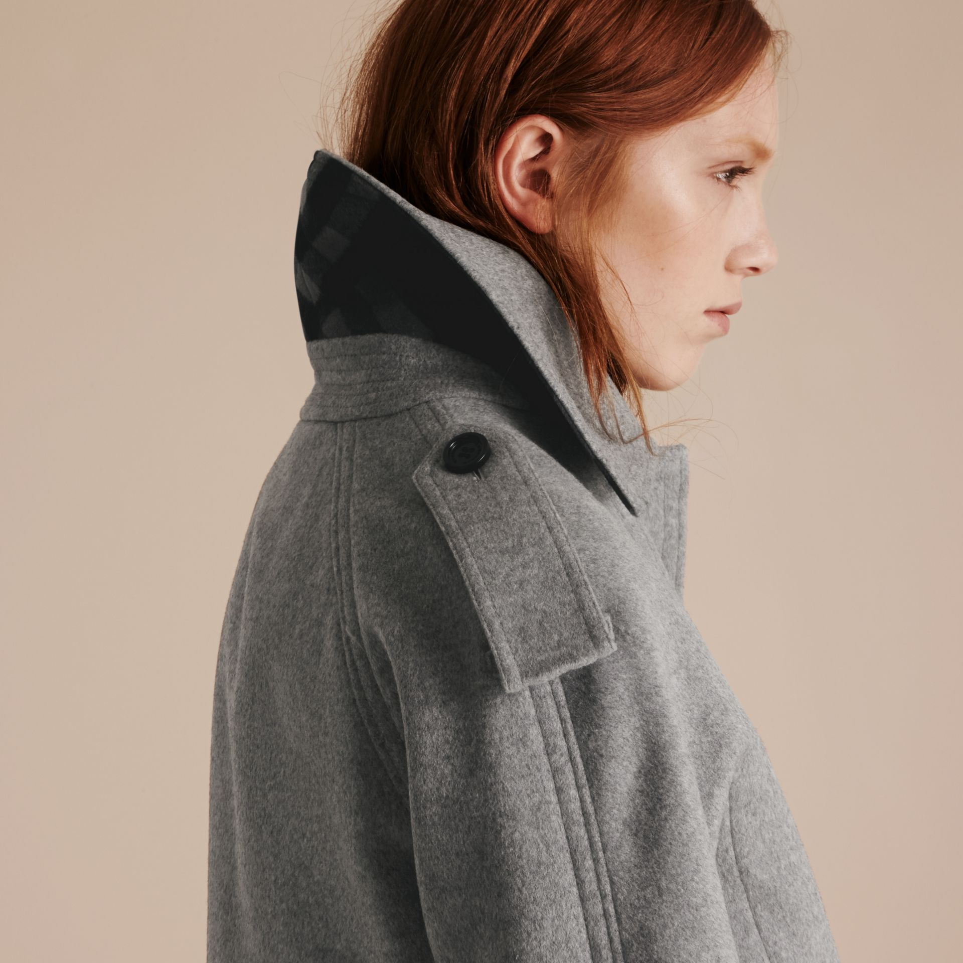 Pale grey melange Wool Cashmere Trench Coat with Oversize Detailing - gallery image 5