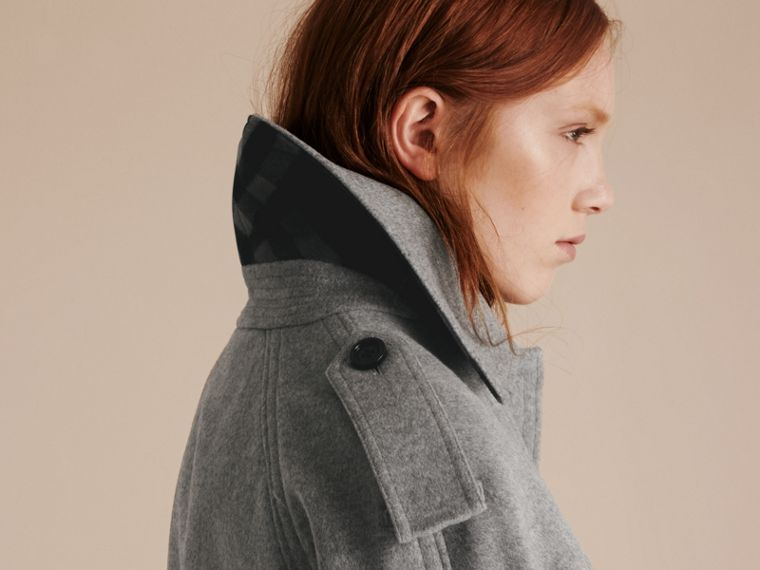 Pale grey melange Wool Cashmere Trench Coat with Oversize Detailing - cell image 4