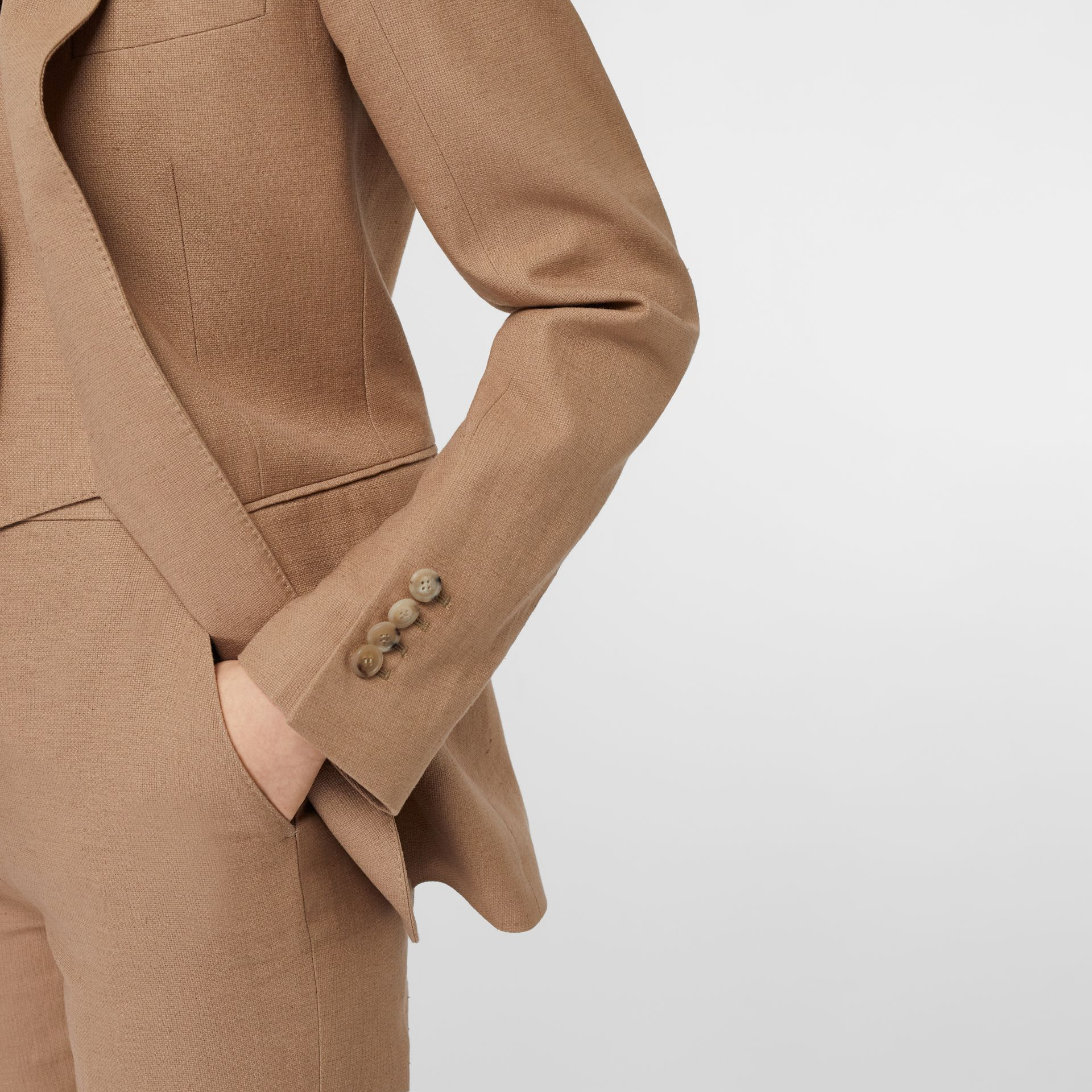 Cotton Linen Tailored Trousers in Ceramic Brown - Women | Burberry United Kingdom - gallery image 5