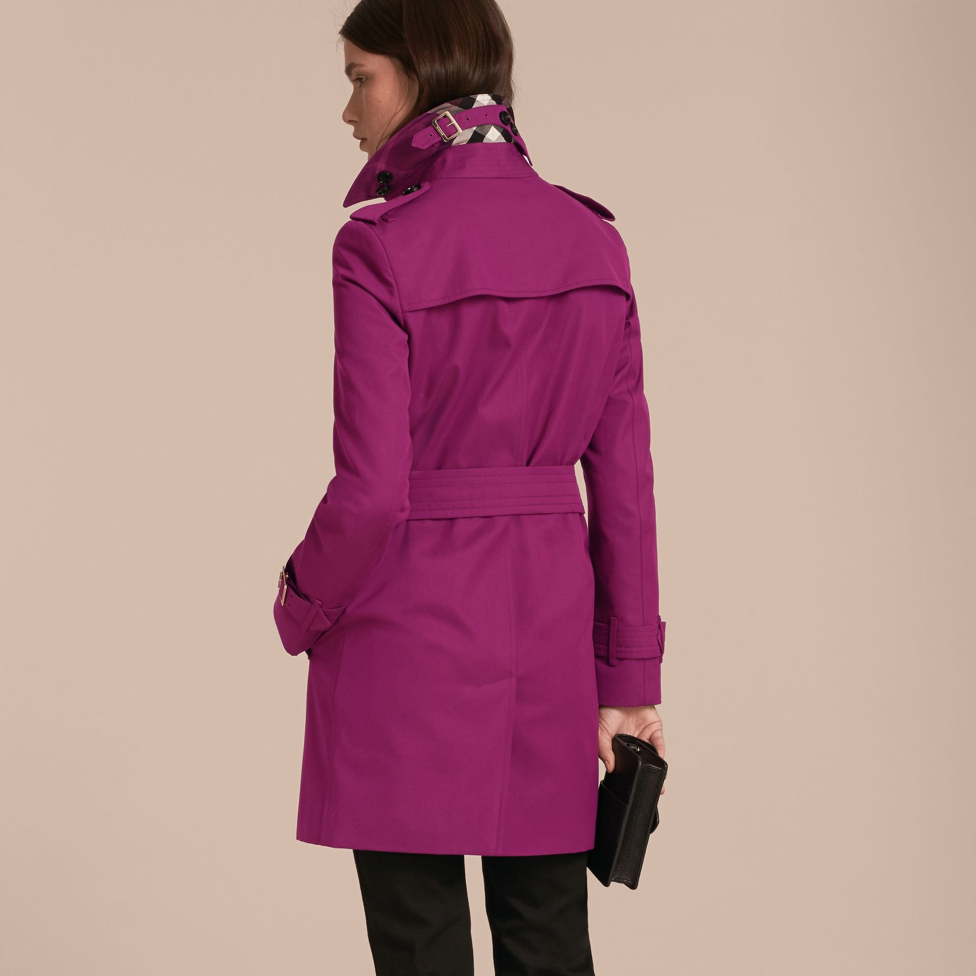 Single-breasted Trench Coat with Metal Buckle Detail Magenta Pink - gallery image 3