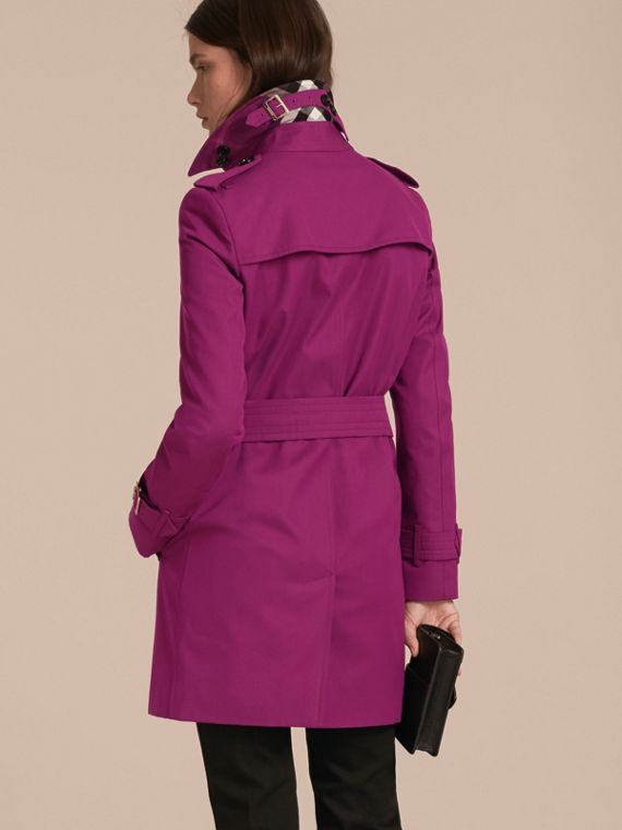Single-breasted Trench Coat with Metal Buckle Detail Magenta Pink - cell image 2