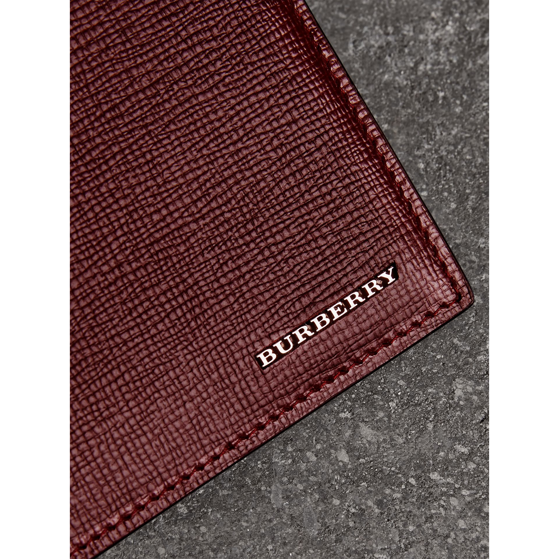 London Leather Bifold Wallet in Burgundy Red - Men | Burberry United States - gallery image 1