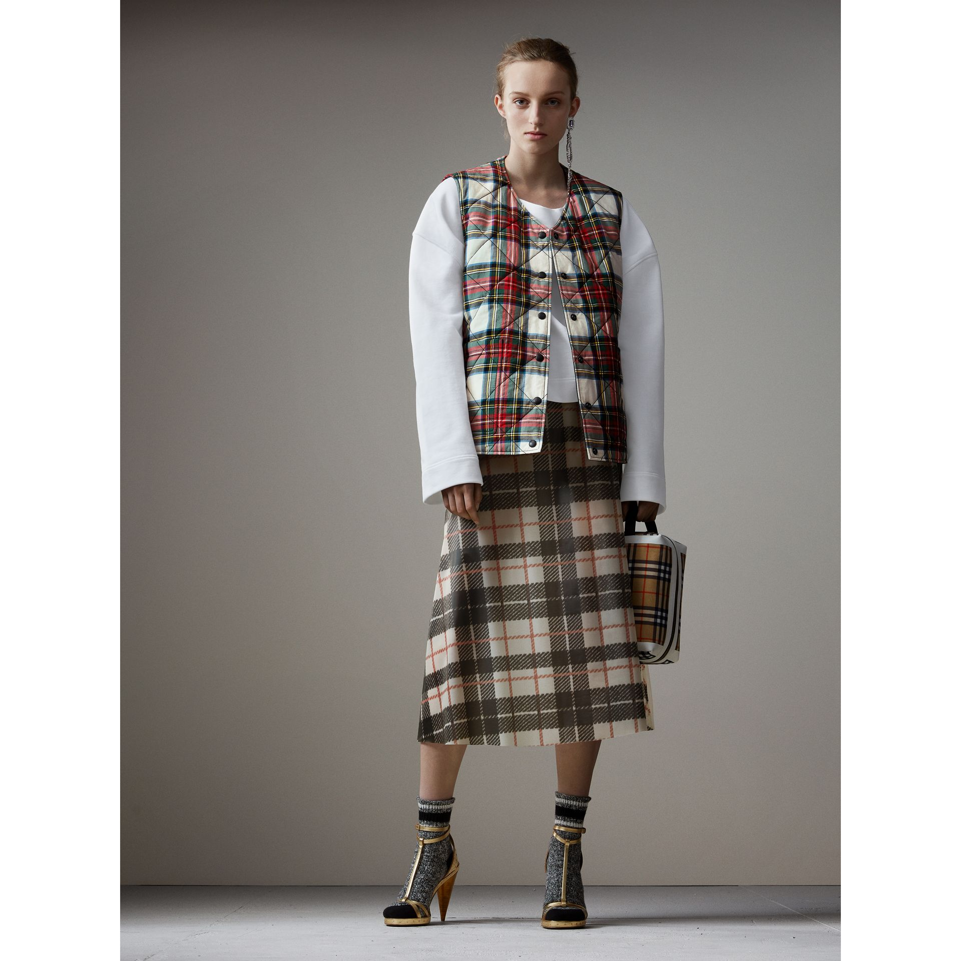 Reversible Tartan Quilted Cotton Gilet in Natural White - Women | Burberry Australia - gallery image 0