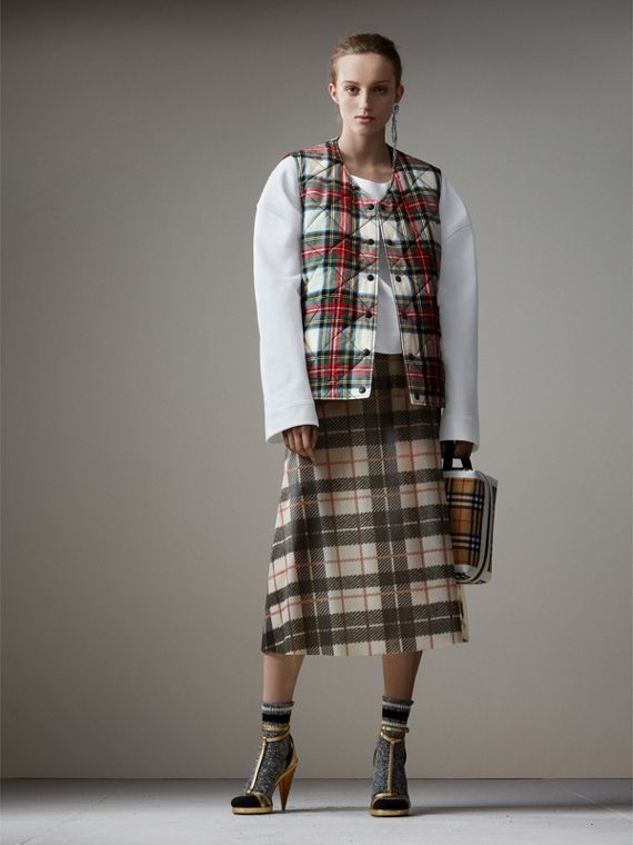 Reversible Tartan Quilted Cotton Gilet in Natural White