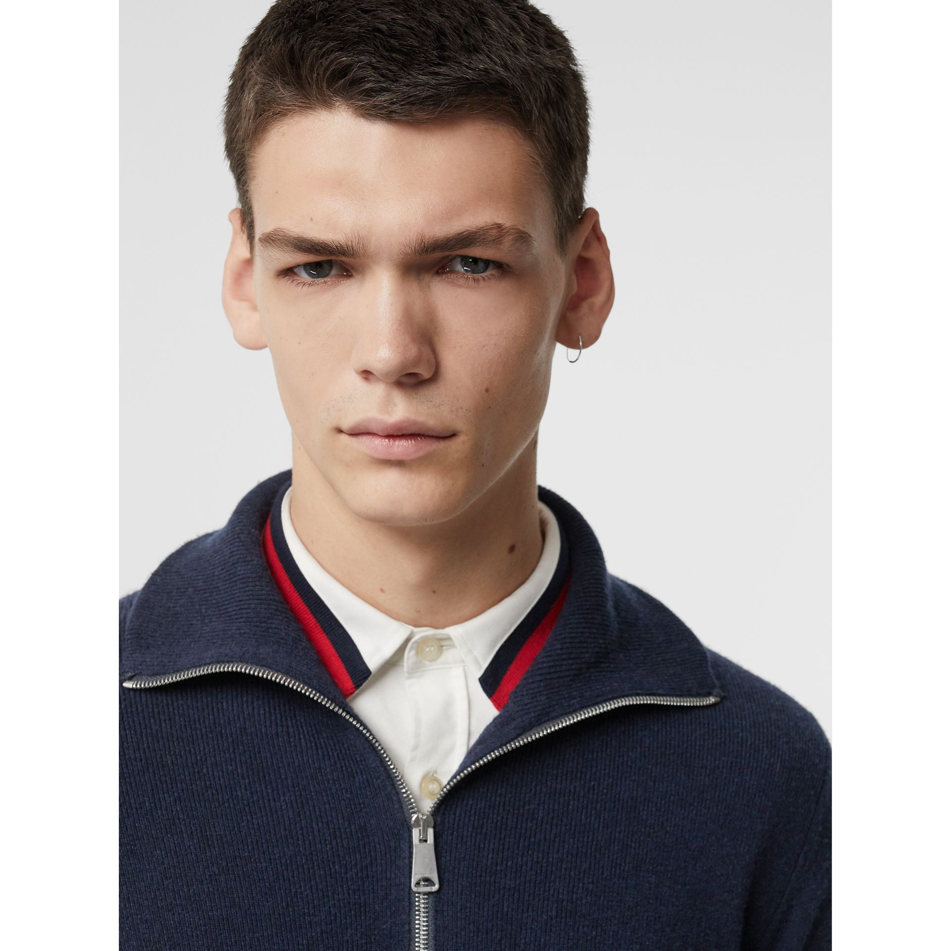 Rib Knit Cashmere Half-zip Sweater in Navy - Men | Burberry Singapore - gallery image 1