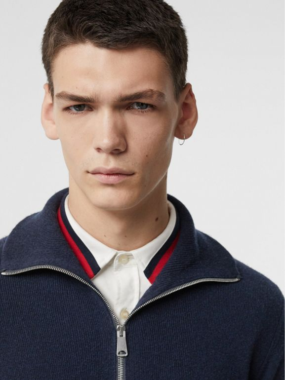 Rib Knit Cashmere Half-zip Sweater in Navy - Men | Burberry - cell image 1