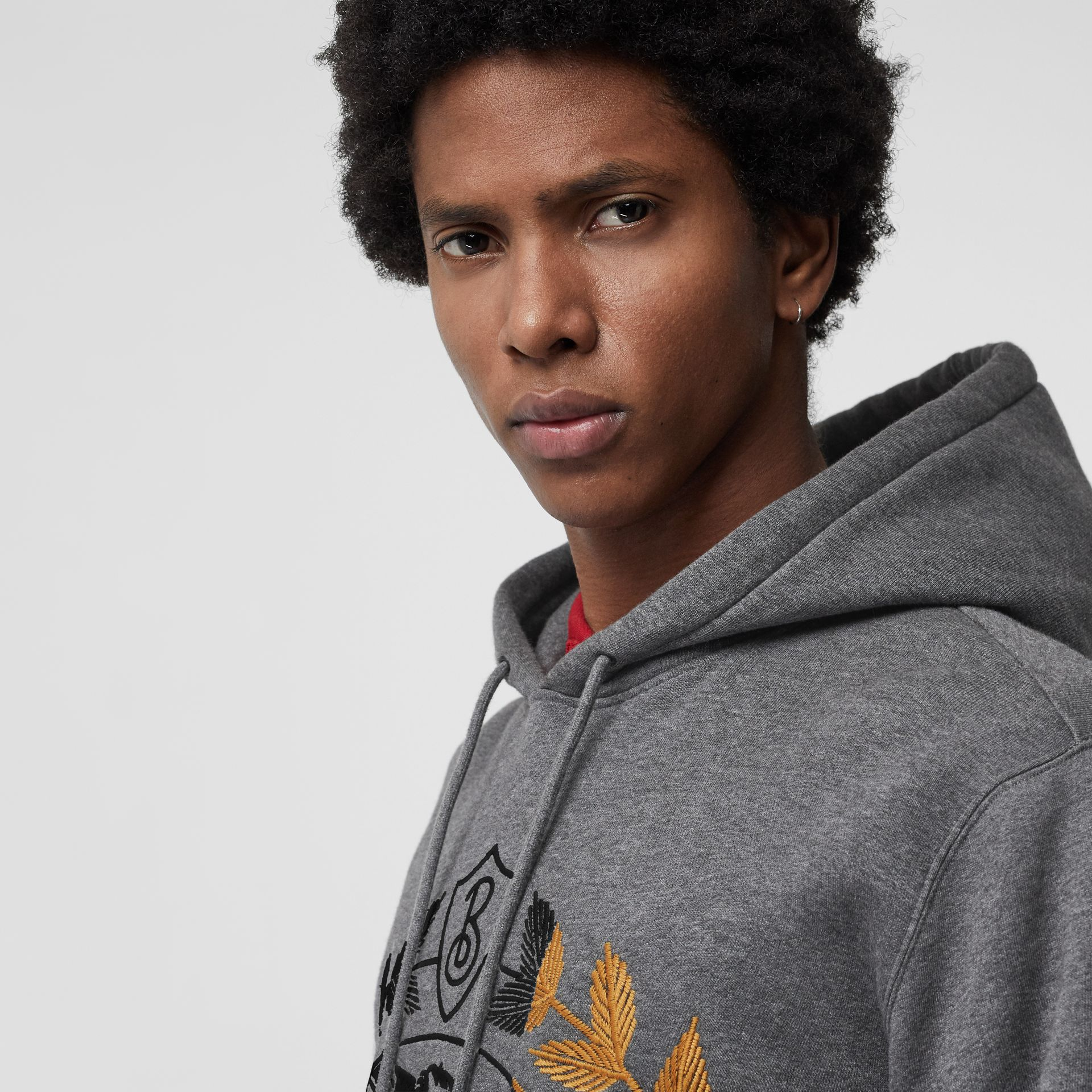 Embroidered Crest Jersey Hoodie in Mid Grey Melange - Men | Burberry - gallery image 1