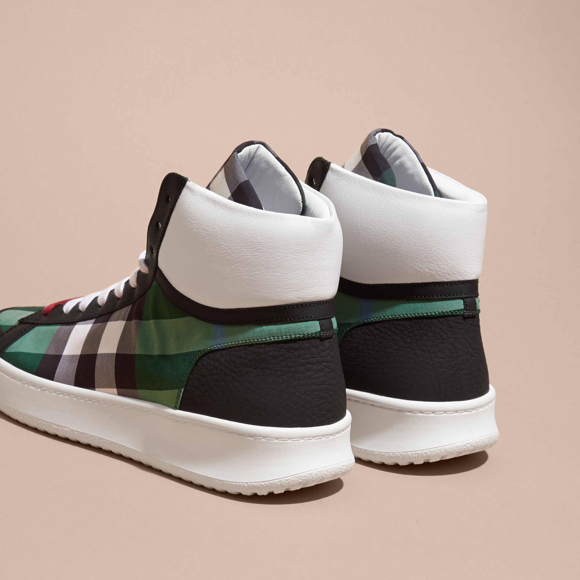 Leather and Check High-top Trainers Dark Pigment Green - gallery image 4
