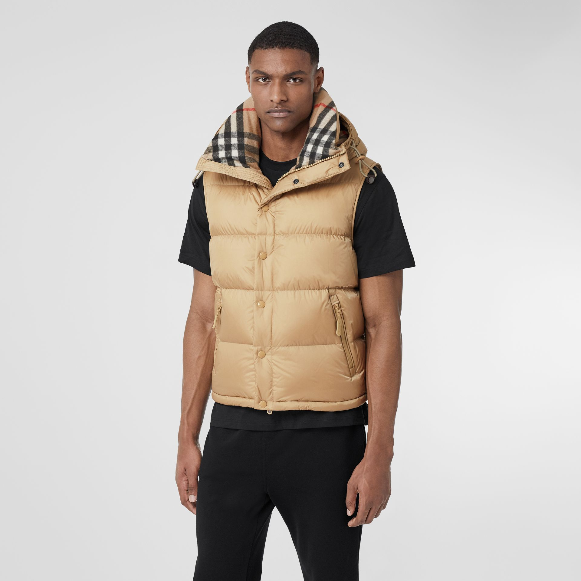 Detachable Sleeve Hooded Puffer Jacket in Honey - Men | Burberry United States - gallery image 6