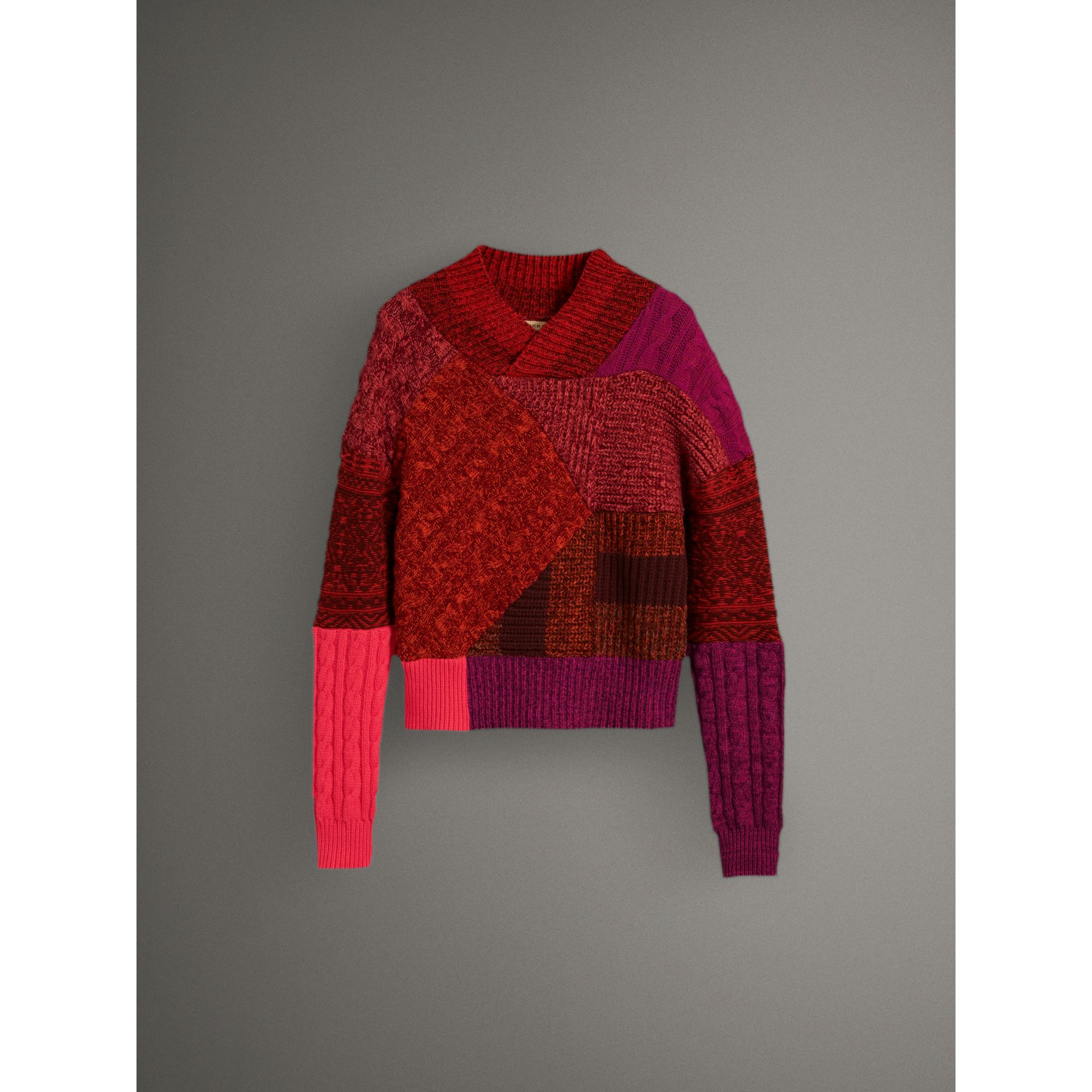 Cashmere Wool Patchwork Sweater in Berry Red - Women | Burberry - gallery image 4