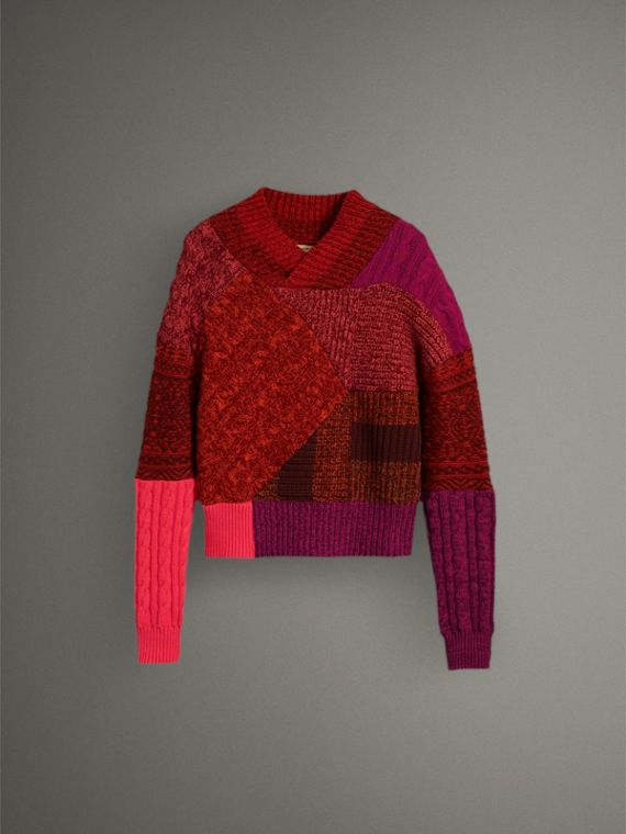 Cashmere Wool Patchwork Sweater in Berry Red - Women | Burberry - cell image 3