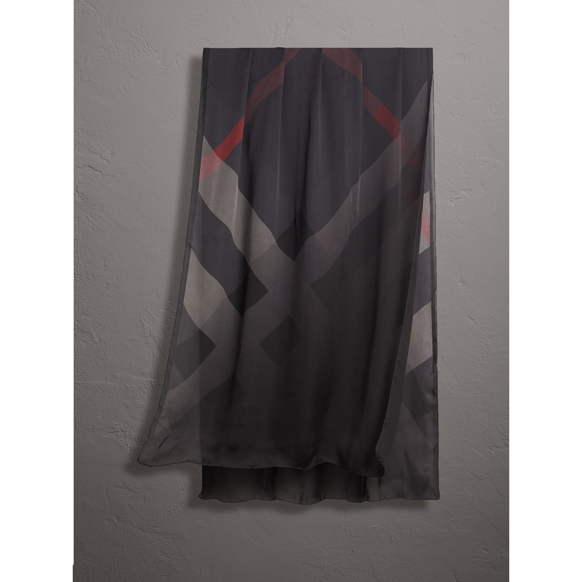 Ombré Washed Check Silk Scarf in Charcoal - Women | Burberry - gallery image 1