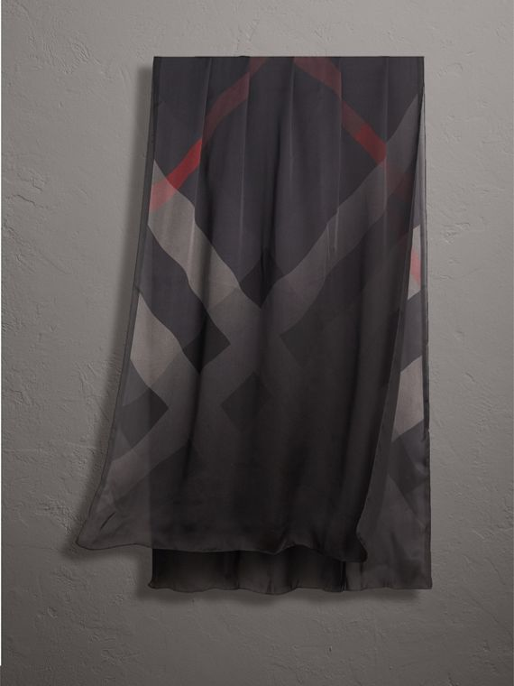 Ombré Washed Check Silk Scarf in Charcoal