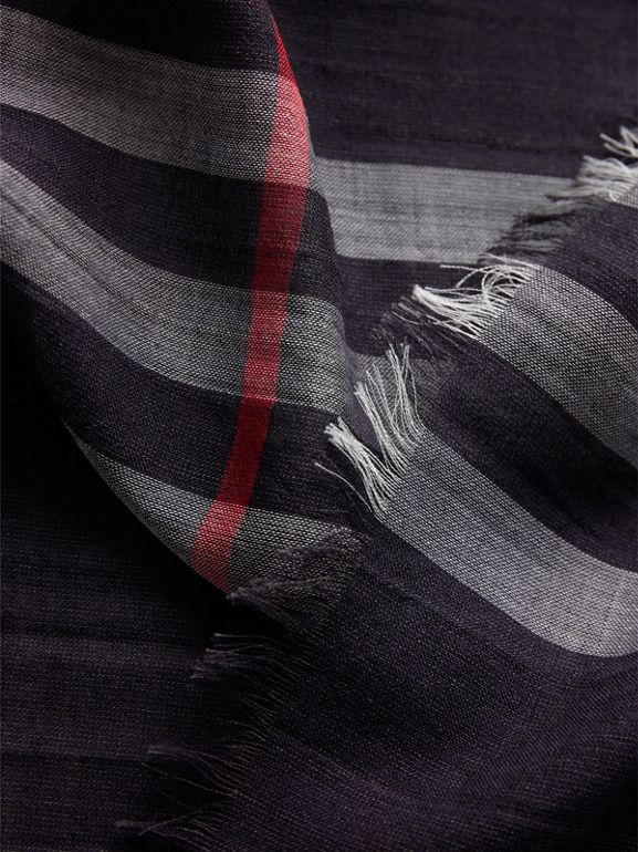 Lightweight Check Wool and Silk Scarf in Navy | Burberry Singapore - cell image 1