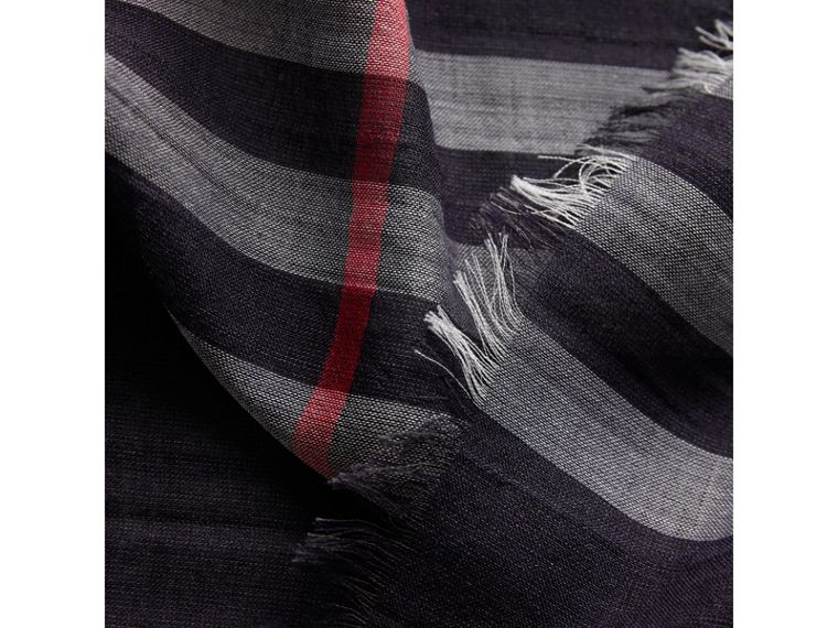 Lightweight Check Wool and Silk Scarf in Navy | Burberry - cell image 1