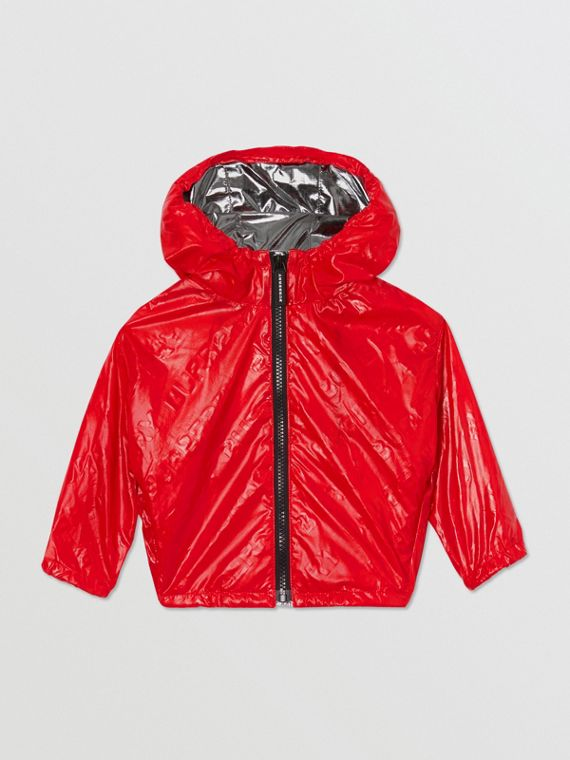 Logo Print Lightweight Hooded Jacket in Bright Red