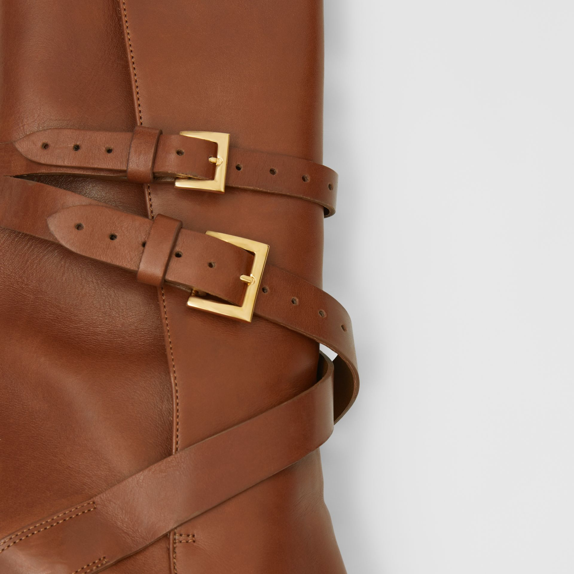 Strap Detail Leather Ankle Boots in Tan - Women | Burberry - gallery image 1