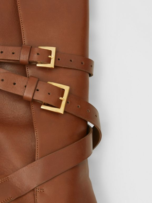 Strap Detail Leather Ankle Boots in Tan - Women | Burberry - cell image 1