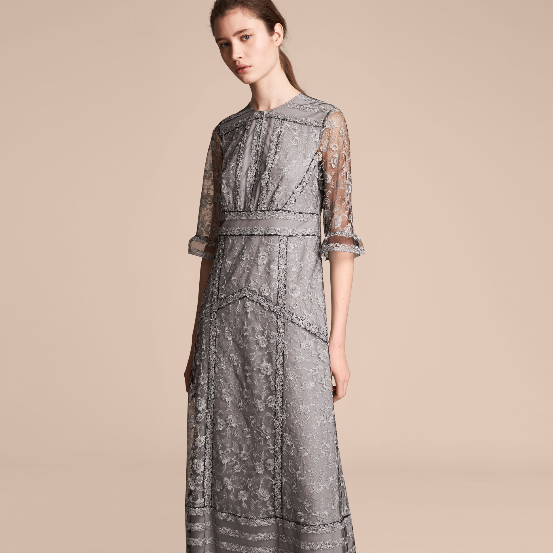 Floral Lace Tulle Dress in Silver - Women | Burberry - gallery image 6