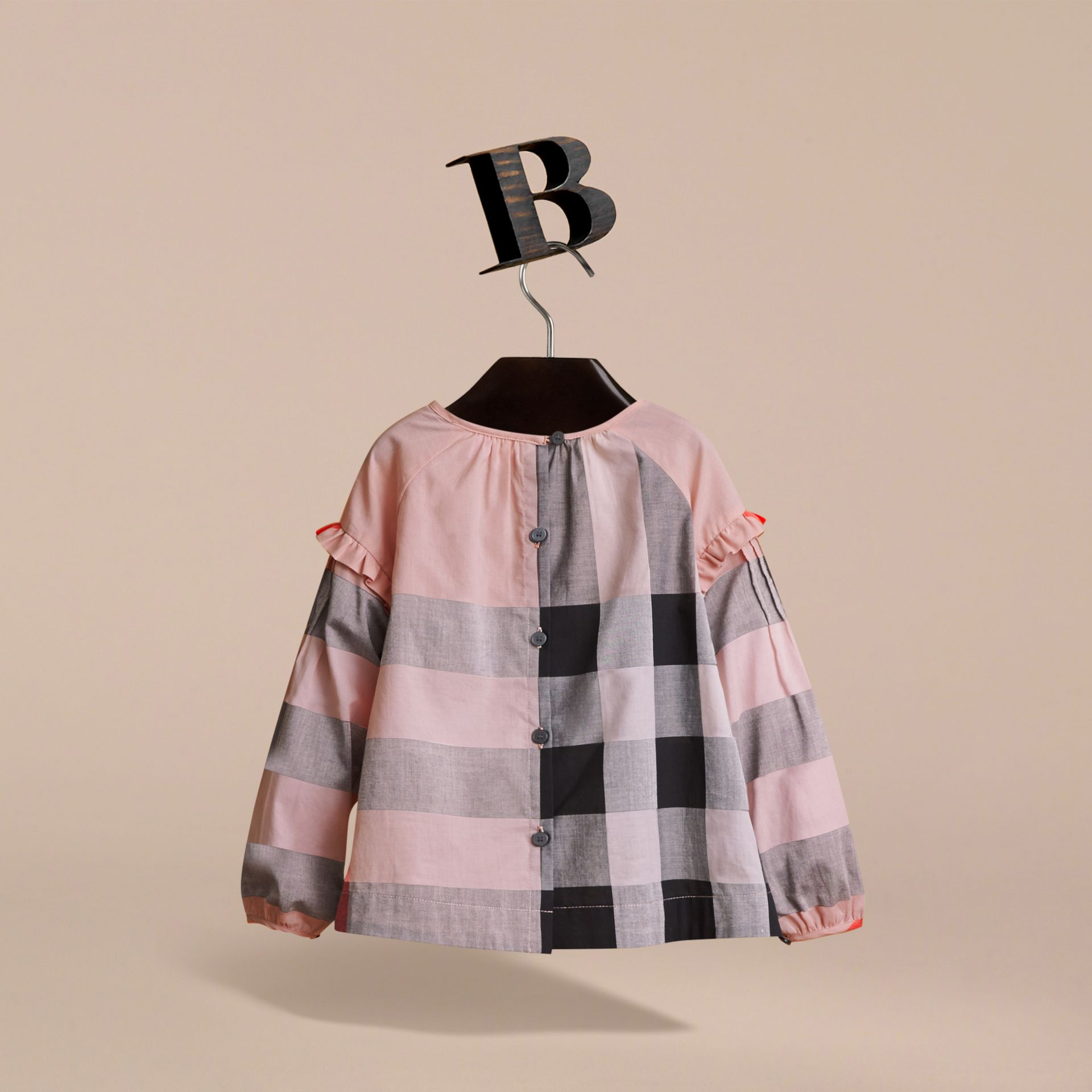 Pintuck Detail Check Cotton Top in Vintage Pink - Girl | Burberry - gallery image 4