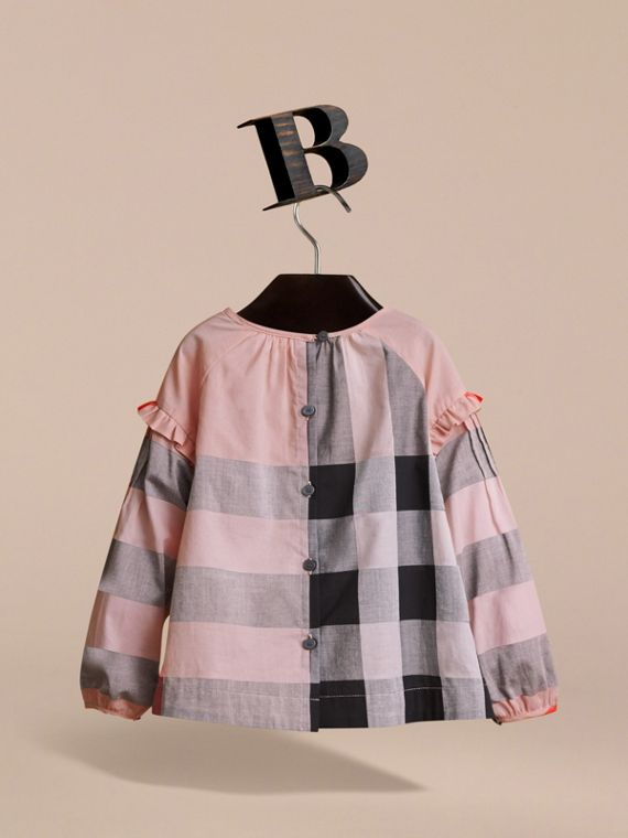 Pintuck Detail Check Cotton Top in Vintage Pink - Girl | Burberry - cell image 3