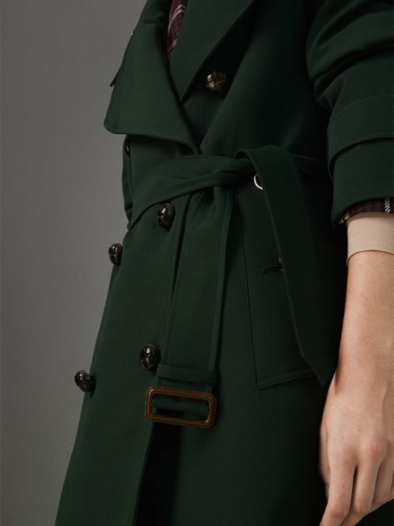 Oversized Lapel Wool Gabardine Trench Coat in Dark Cedar Green - Women | Burberry Australia - cell image 2