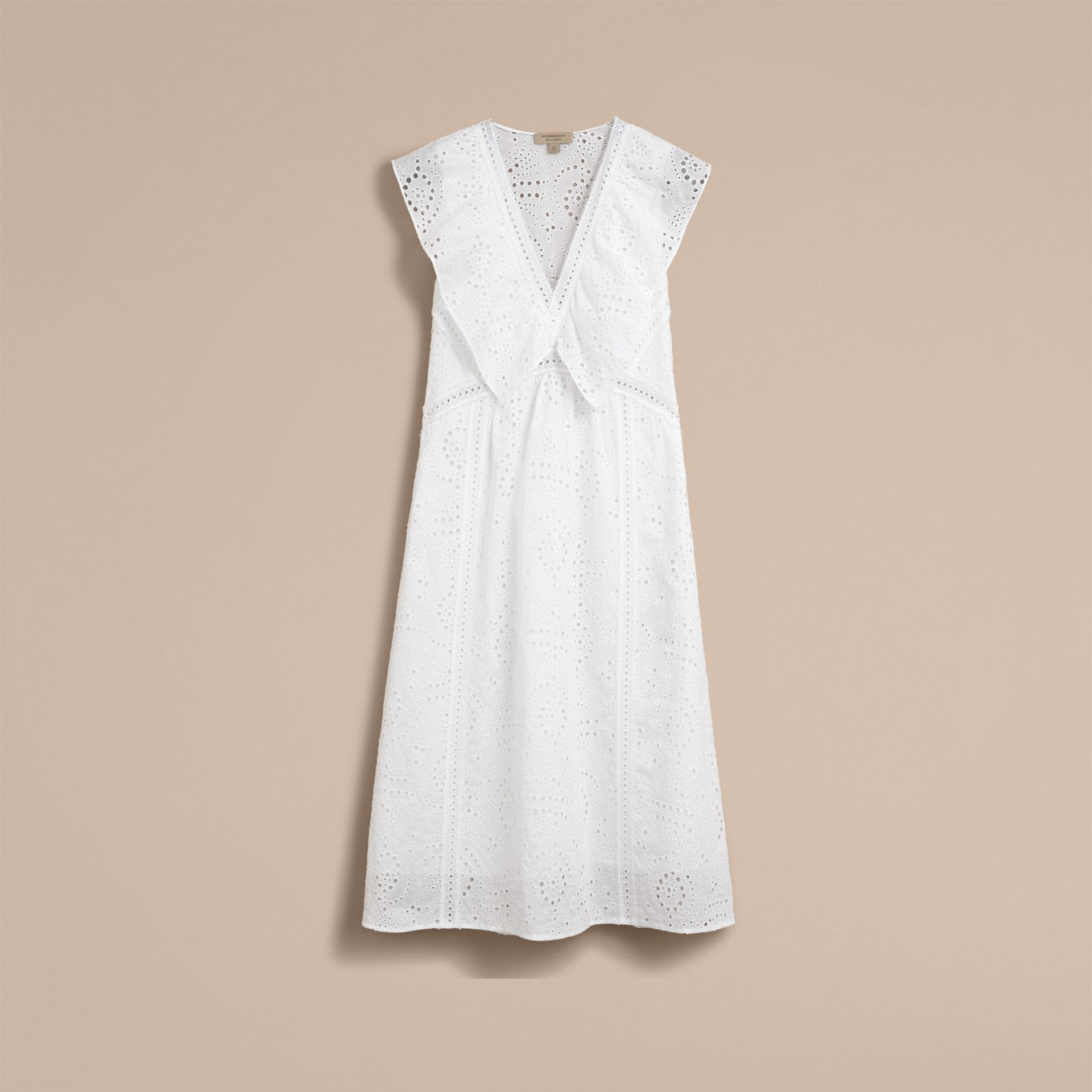 Sleeveless Broderie Anglaise Ruffle Detail Dress - Women | Burberry - gallery image 4