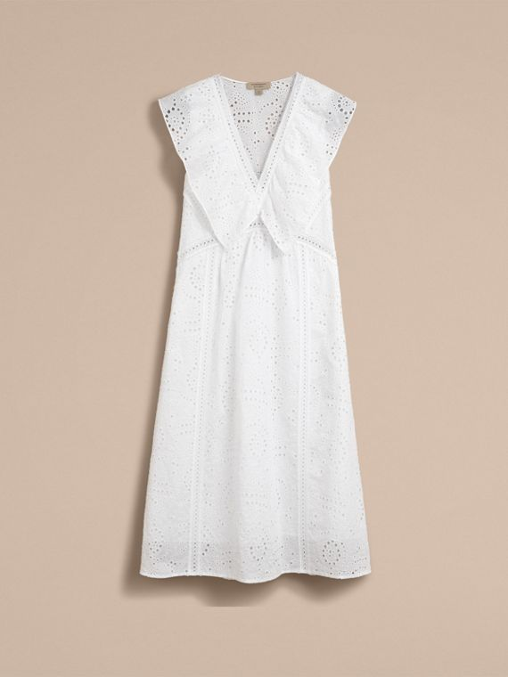Sleeveless Broderie Anglaise Ruffle Detail Dress - Women | Burberry - cell image 3