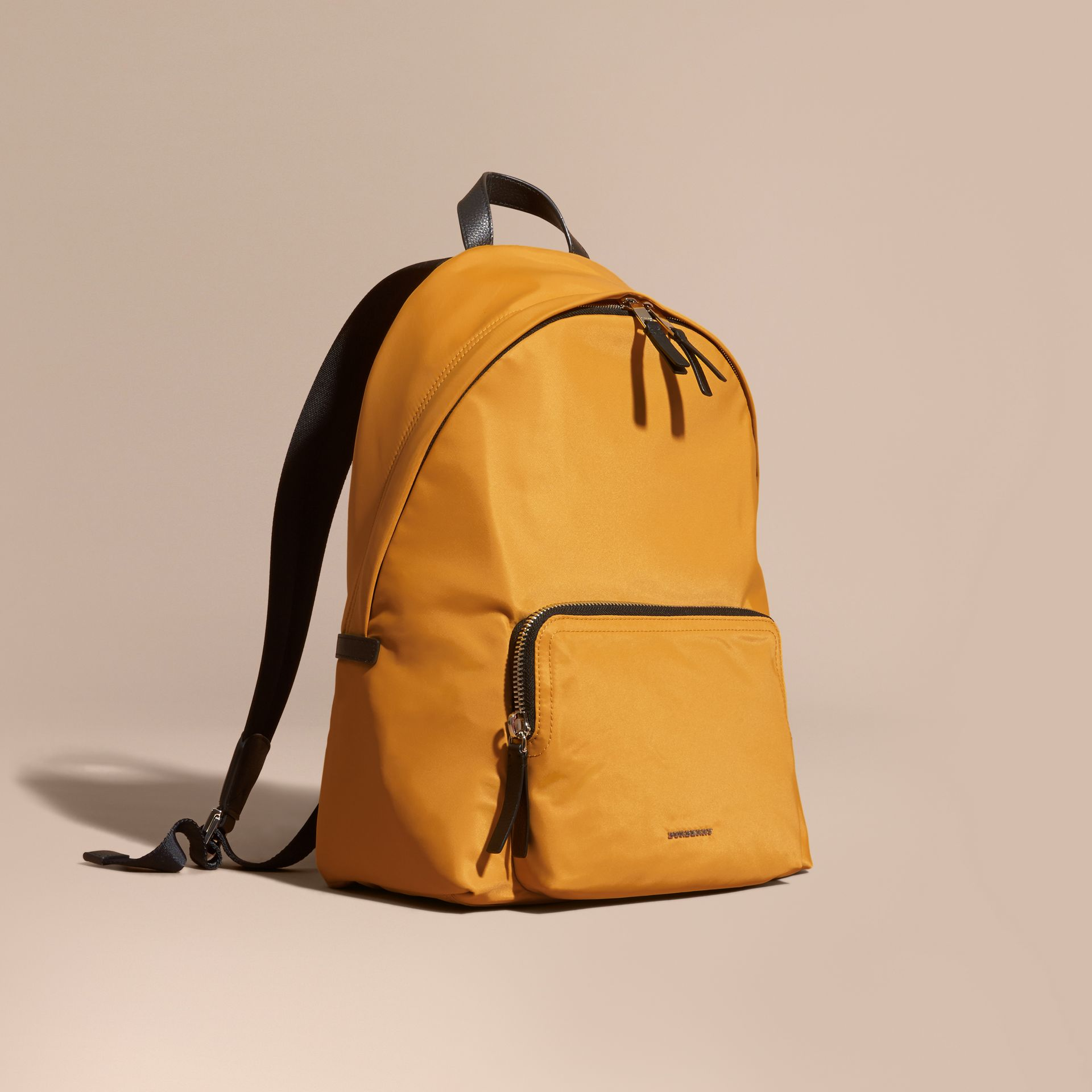 Amber yellow Leather Trim Nylon Backpack Amber Yellow - gallery image 1