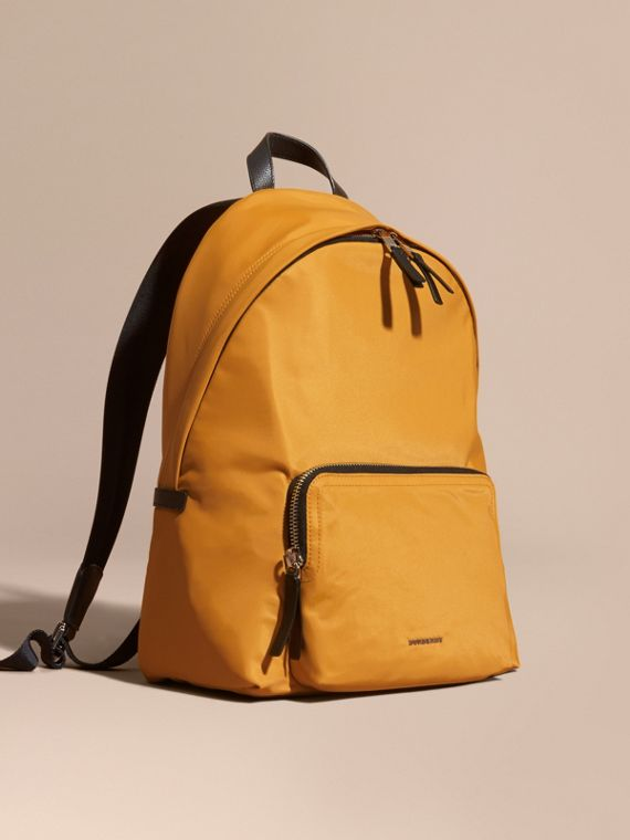Leather Trim Nylon Backpack Amber Yellow