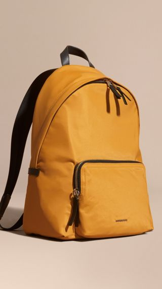 Leather Trim Nylon Backpack
