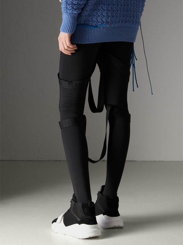 Strap Detail Stretch Jersey Leggings in Black - Women | Burberry - cell image 2
